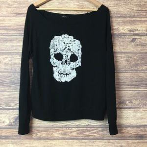 UK2LA Crocheted Skull Long Sleeved Black Shirt Top